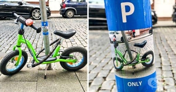 Момче паркира колелото си на този стълб всеки ден в продължение на година. Една сутрин забелязва следния стикер.