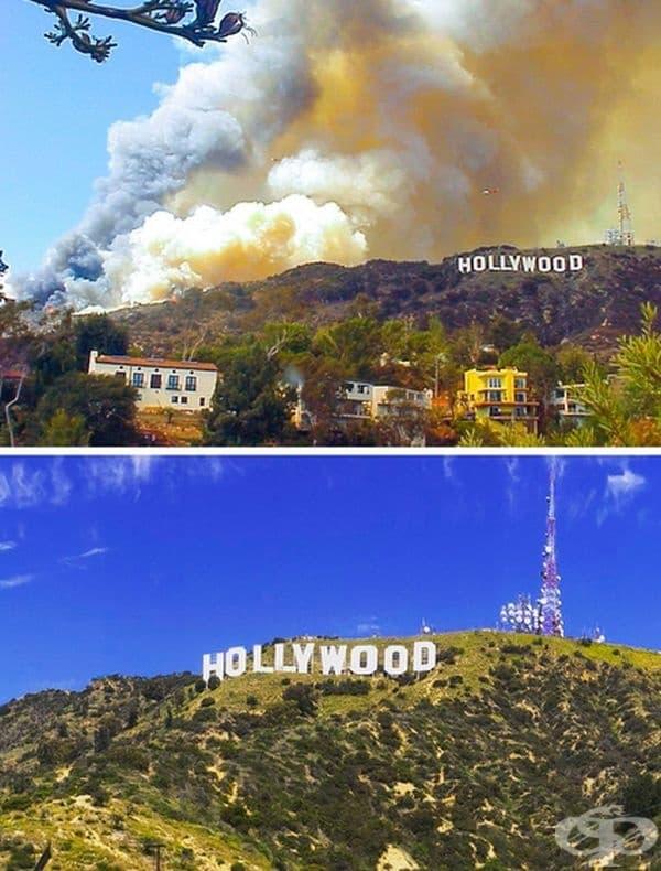 Дим окупира Малибу в Калифорния по време на най-тежките пожари през ноември 2017 г. По това време пламъците са достигнали максимално близо до знаменития надпис на Холивудските хълмове.