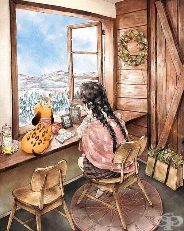 На новото място жената започва да рисува картини, за които винаги е мечтала.