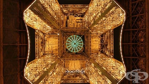 Айфеловата кула, погледната отдолу.