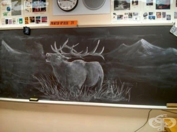 Всеки ден този учител по изобразително изкуство рисува невероятни картини, за да вдъхнови своите ученици.