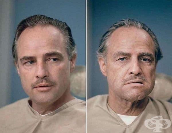 """Известният Марлон Брандо. На първата снимка - как изглежда без грим, а на втората – за участие в """"Кръстникът""""."""