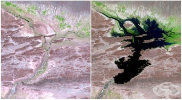 Река Дашт, Пакистан (август 1999 - юни 2011). Язовирът Мирани предоставя чиста   питейна вода и енергия в областта. Освен това той поддържа местното селско   стопанство.
