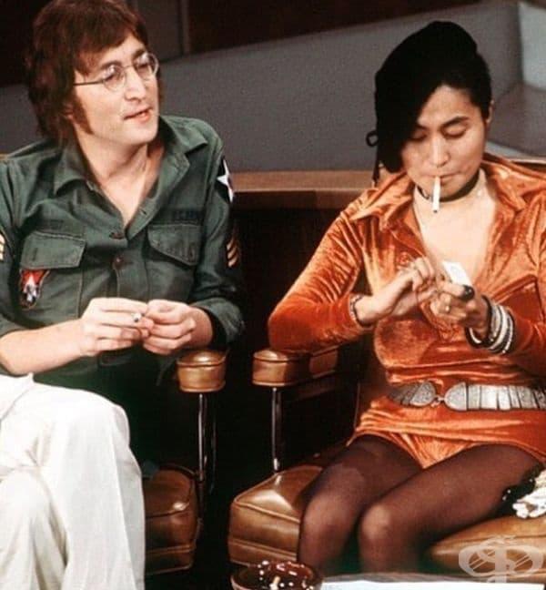 Джон Ленън и Йоко Оно на шоуто на Дик Кавен през 1971 година.
