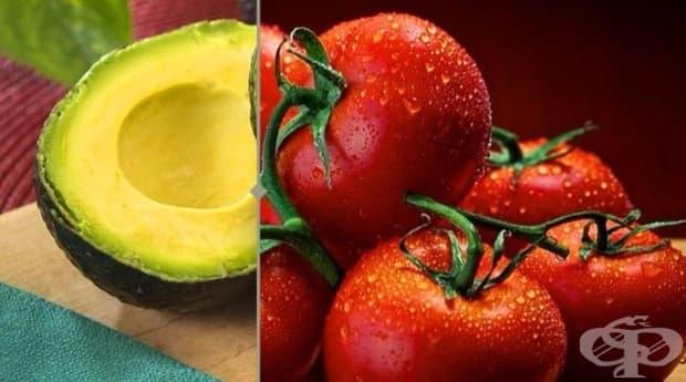 Картеноиди, витамин А и здравословни мазнини.  Мазнините в авокадото засилват въздействието на картеноидите и витамин А, които се намират в доматите.