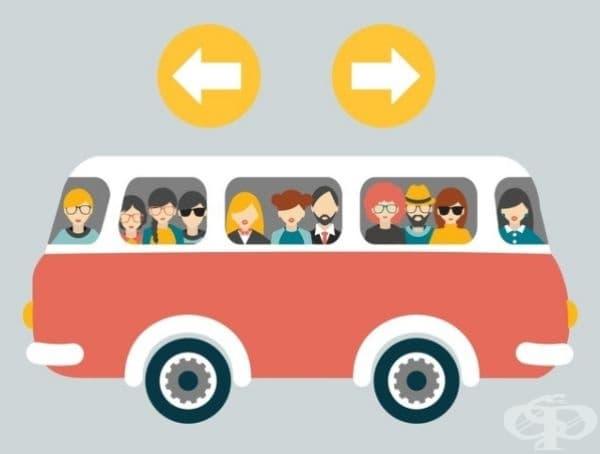 Посочете в коя посока се движи автобусът