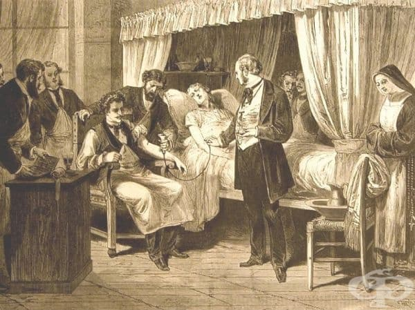 """Хемотрансфузия в Париж. Картината е публикувана в """"Harper's Weekly magazine"""" от 1874 година."""