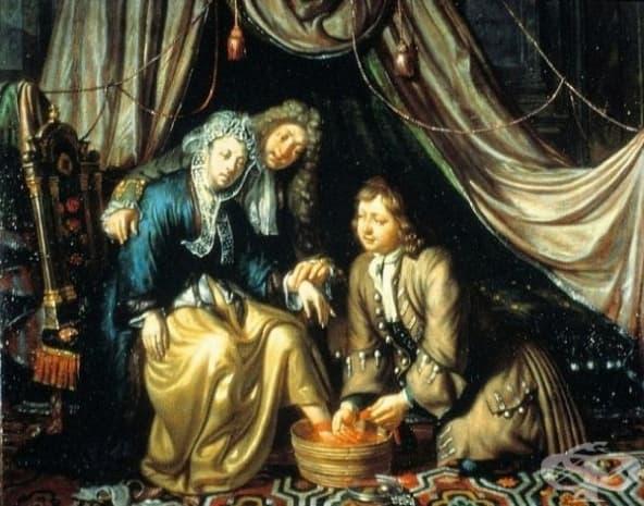 Картината е от 17 век. На нея е изобразен лекар, измерващ пулса на свой пациент, докато той кърви.