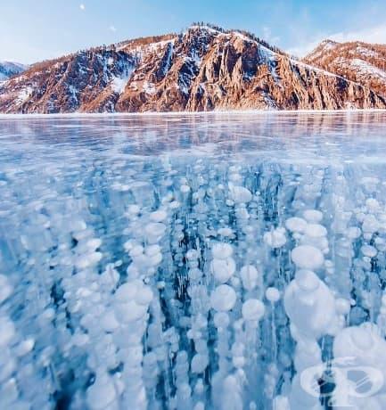 Ледът в Байкал е най-прозрачният в света! Можете да видите всичко на дъното: рибата, зелените му камъни, растения...