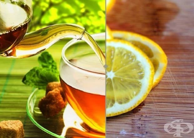 Антиоксиданти.  Лимоновият сок увеличава количеството на полезните антиоксиданти в зеления чай.