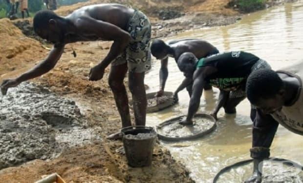 Търсене на диаманти в Африка