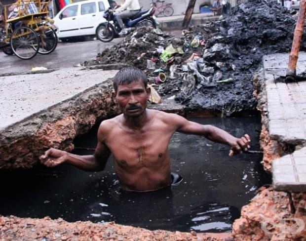 Почистване на шахти в Индия