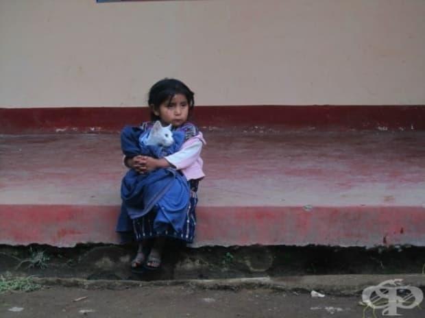 Момиченце от Гватемала гушка своето коте.