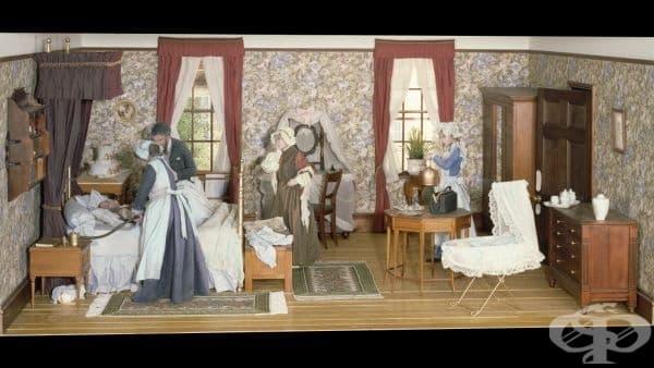 Английска диорама на раждаща жена от 60-те години на 19 век