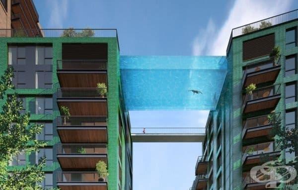 Дизайн на стъклен басейн, провесен между две сгради в Лондон.