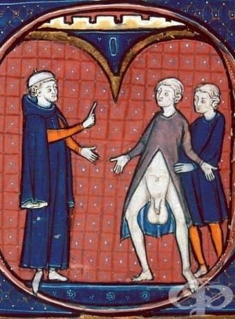 Когато лекарят ви хока за вашите гигантски тестиси с купа на главата си.