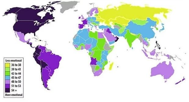 Държави, подредени по емоционалните си темпераменти: по-малко емоционални => по-емоционални