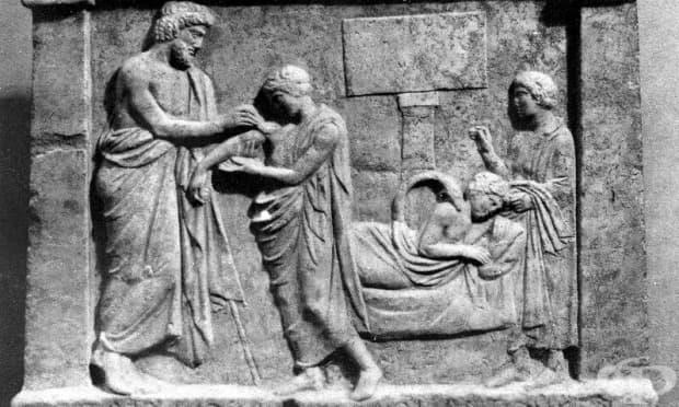 Релеф, на който е изобразен Амфираос, който привързва рамото на млад мъж. Намерена в границите на Амфиарий, Оропос, Гърция. Първата 1/2 на IV в.