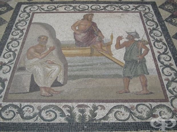 Мозайка от гръцкия остров Кос, родното място на именития лекар Хипократ. На нея е представен самия Хипократ (седнал) и рибар, поздравяващ бог Асклепий. III-II в. пр. н. е.