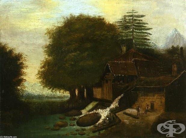 """Пол Сезан, """"Пейзаж с воденица"""", 1860"""