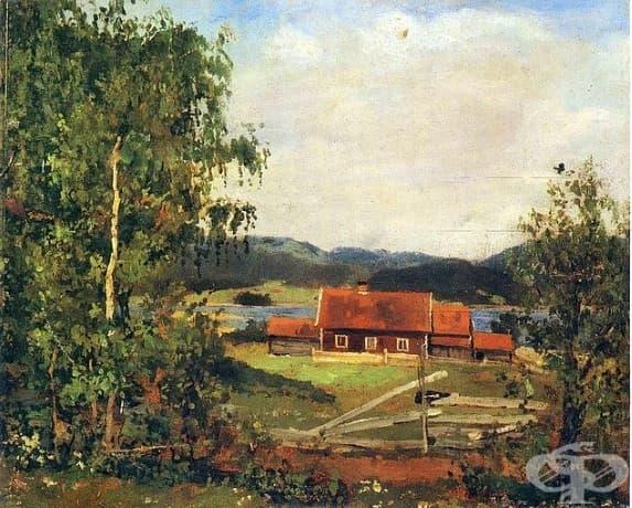 "Едвард Мунк, ""Пейзаж. Маридален край Осло "", 1881 г."