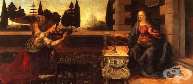 """Леонардо да Винчи, """"Благовещение"""", 1472"""