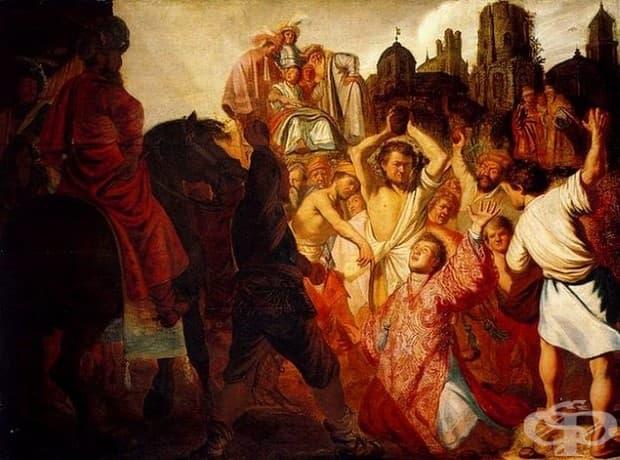 """Рембранд, """"Пребиването с камъни на Свети Стефан"""", 1625"""
