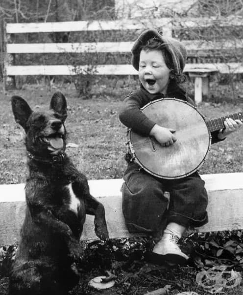 Момиченце, което свири на своето куче