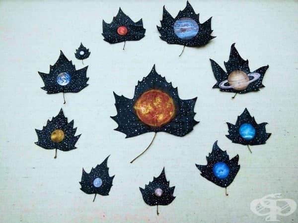 Есенно изкуство с паднали листа