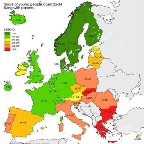 Хора в ЕС на възраст 25-34 години, които все още живеят с родителите си
