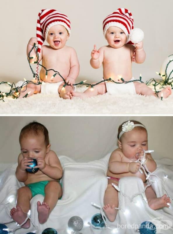 Бебешки коледни снимки – интернет срещу реалността