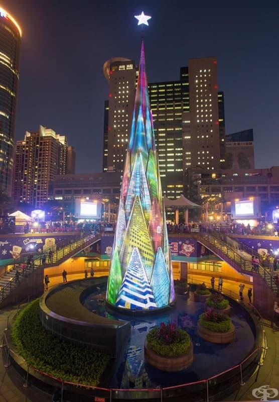 Тайпе, Тайван. Височината на това наистина уникално дърво е 36 м и е направено от LED светлини. Месец преди празника всяка нощ след залез слънце има светлинно шоу.