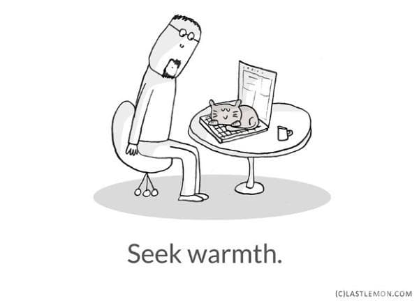 Търсете топлина.