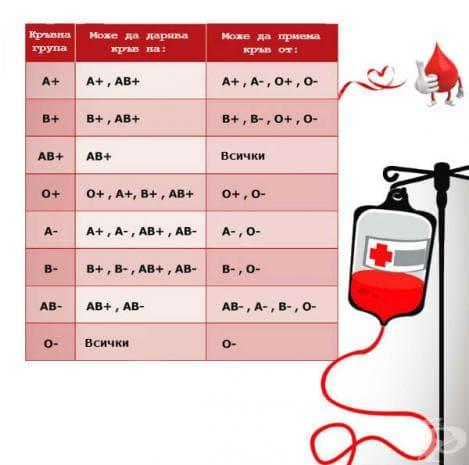 Коя кръвна група от коя може да приема и на коя може да дарява кръв?