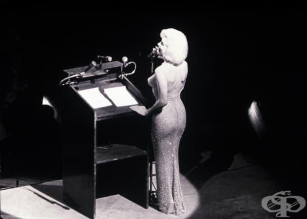 """Мерилин Монро, иконичното й изпълнение на песента """"Честит рожден ден, г-н президент"""", посветено на Дж. Ф. Кенеди."""
