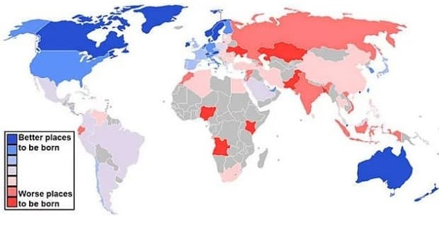 Къде е най-добре да се родиш? Най-добре => най-зле