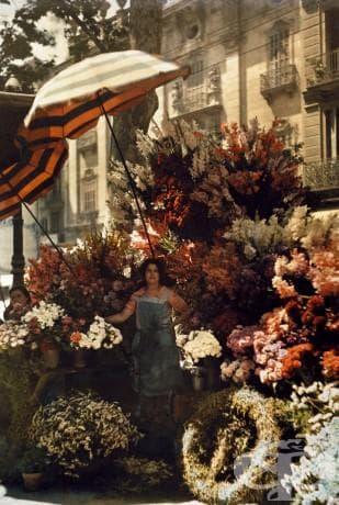Жена стои пред цветята си, Рамбла в Барселона, Испания, март 1929