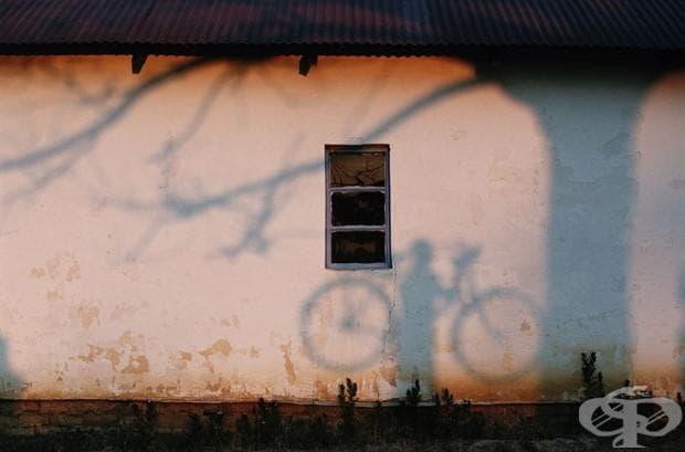 Сянка на човек, държащ велосипед, върху стена в близост до река Замбези, 1996