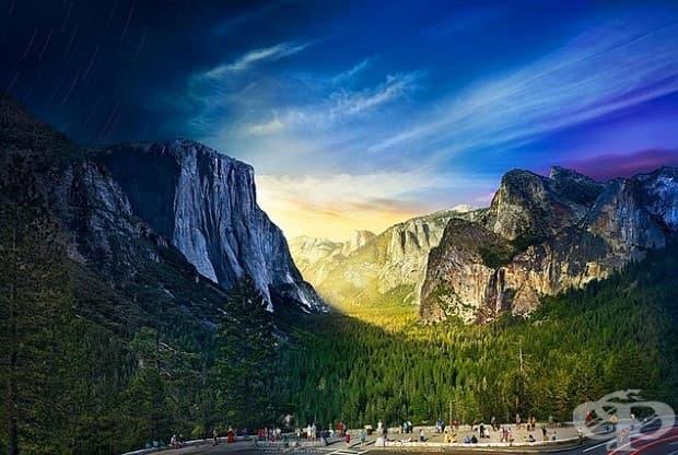 На планински склон в Национален парк Йосемити, фотограф Стивън Уилкс заснема 1,036 фотографии за над 26 часа, за да се създаде тази композиция за ден и нощ.