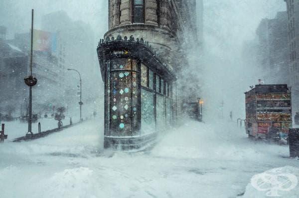Тази снимка на жестоката зима в Ню Йорк изглежда като красива картина!