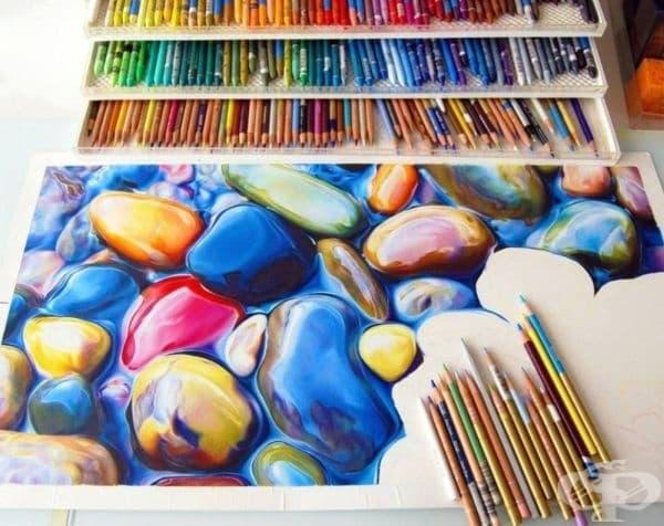 Невероятно красива рисунка, направена с помощта на цветни моливи.