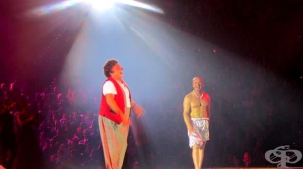 Клоунът Давид Ларибле и Енчо Керязов.