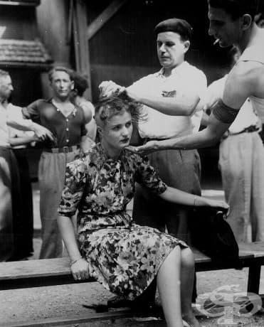 Срам: Френските жени, които са имали контакт с германците след Втората световна война, биват маркирани.