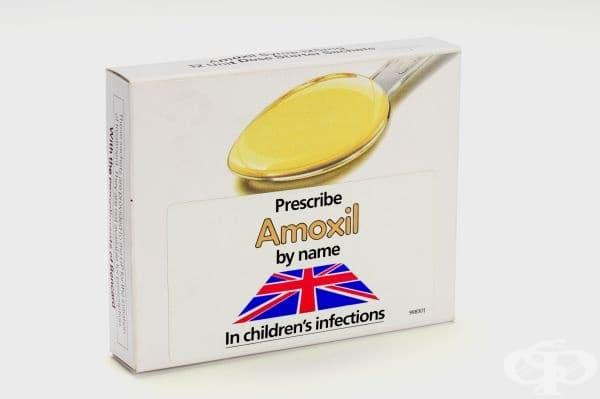 Опаковка от антибиотика амоксицилин от 1978г.