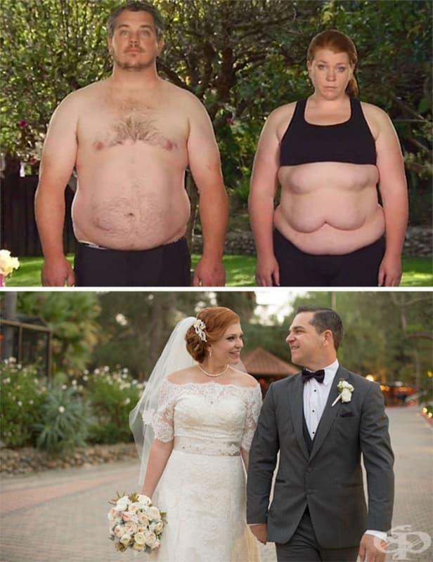 Тази двойка свалила общо 84 кг преди сватбата си