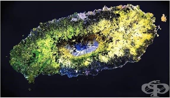 Вулканичен остров в Тихия океан.