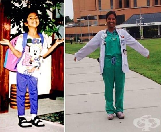 Първият ден на първи клас и първия ден от 4-тата година в медицинско училище.(20 години разлика).