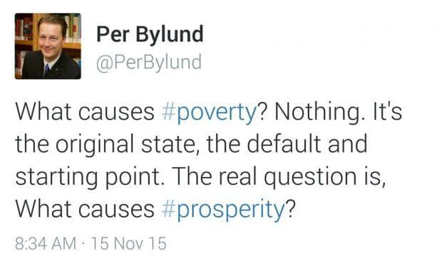 Какво причинява бедност, според Пер Билунд, изследовател на предприемачеството