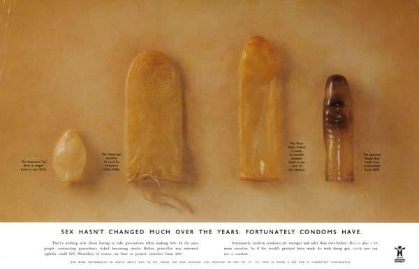 Постер, изобразяващ популярни в миналото презервативи