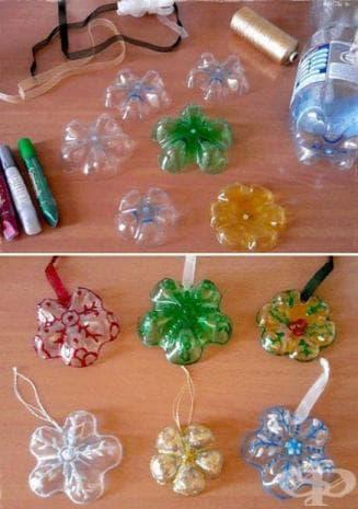 Рециклирани снежинки за елхата от пластмасови бутилки